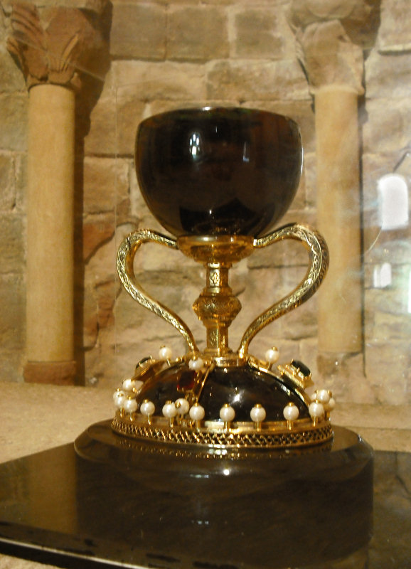 ...received the chalice of the Last Supper, or Holy Grail, in 1071 for safe keeping during the Moorish invasion. This replica is now displayed...