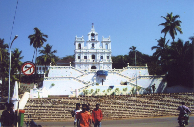 A view from the street of the exceptional Church of Our Lady of Immaculate Conception in Panaji (Panjim)...