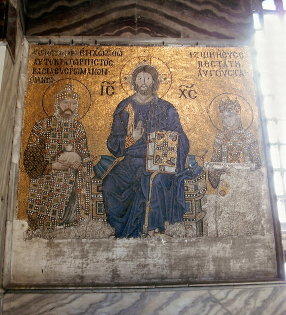 ...are astonishing uncovered mosaics: from the eleventh century, of Christ Pantocrator (All-Powerful)...