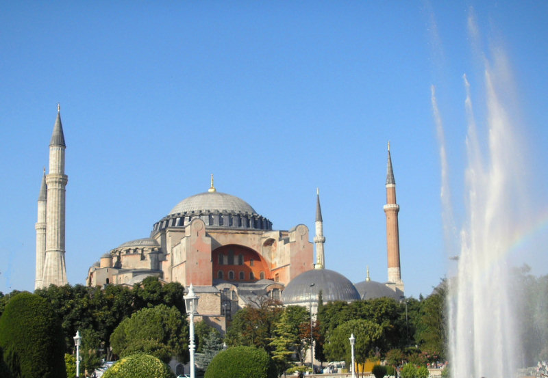 ...Hagia Sophia was built by Emperor Justinian in 536. The very first Constantinople church was constructed by first Christian Roman Emperor, Constantine/Constantinus, in 347AD.