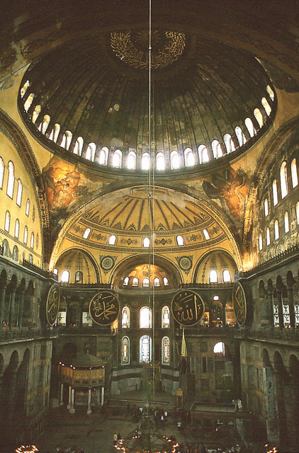 Inside the immense Hagia Sofia / Aya Sofya / Santa Sophia / Church of Divine Wisdom in Istanbul...