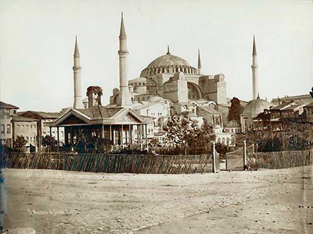 ...Aya Sofya around 1885, by Pascal Sebah in Mosquée de Sainte Sophie, it remained the world's largest cathedral for 1000 years...