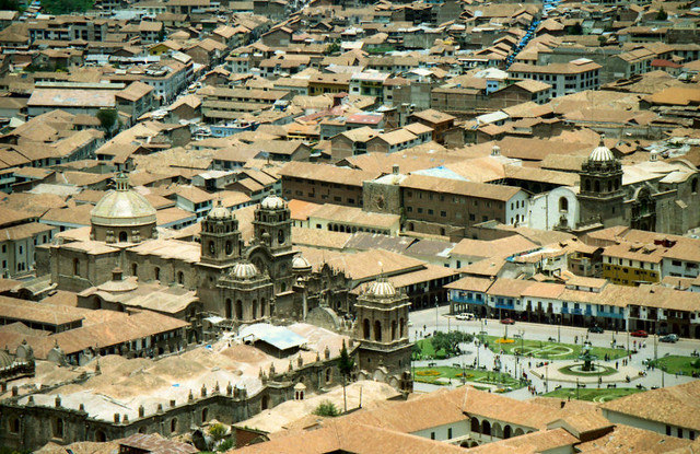 ...the distinctive Cathedral of Cusco in the Plaza de Armas...