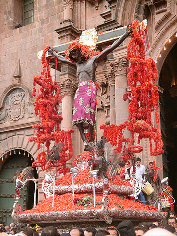 ...in 1650 an earthquake ceased as the figure was brought outside into the Plaza, which led to the annual Lord of Miracles Procession each October.