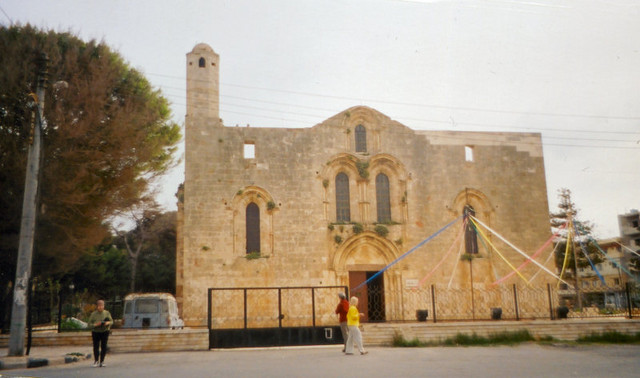 The 12th Century Crusader Cathedral of Our Lady of Tortosa in the western coastal town of Tartus.