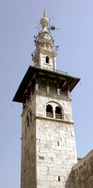 white minaret in damascus