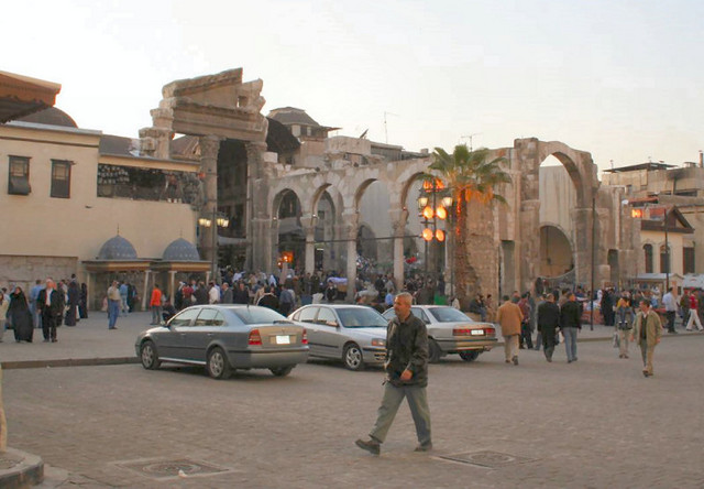 ...through a Roman monumental arch at an ancient cross roads, then on westwards towards the Arab Gate of the Water Trough, Bab al-Jabiya, once the Roman Temple of Jupiter.