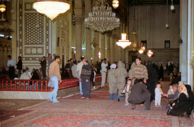 ...In 2001, after an open-air mass for 35,000 people, the Pope made an historic visit to the Umayyad Mosque where he was greeted by the Grand Mufti...